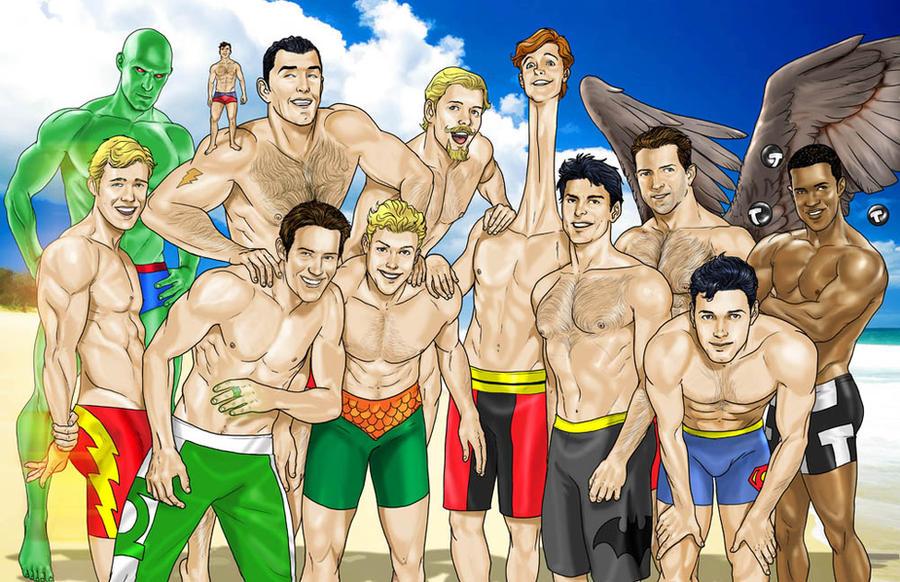 justice_league_beach_fun_guys_by_joephil