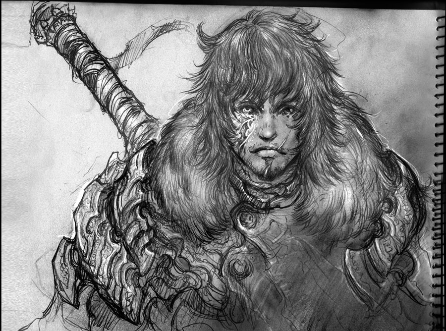 Warrior sketch 2 by Panda-Graphics