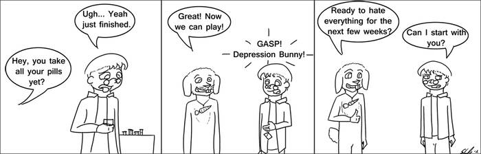 Depression Bunny by catvomit-inc