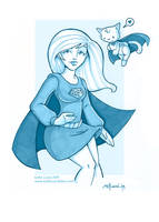 supergirl and streaky in blue by katiecandraw