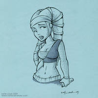 sketch of a lady in blue 2 by katiecandraw