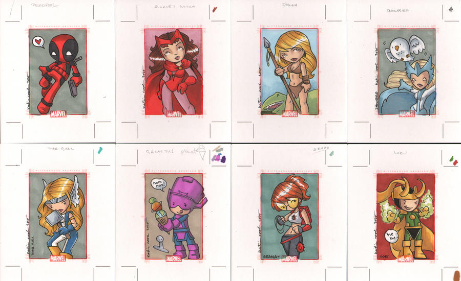 marvel 70th anniversary cards by katiecandraw