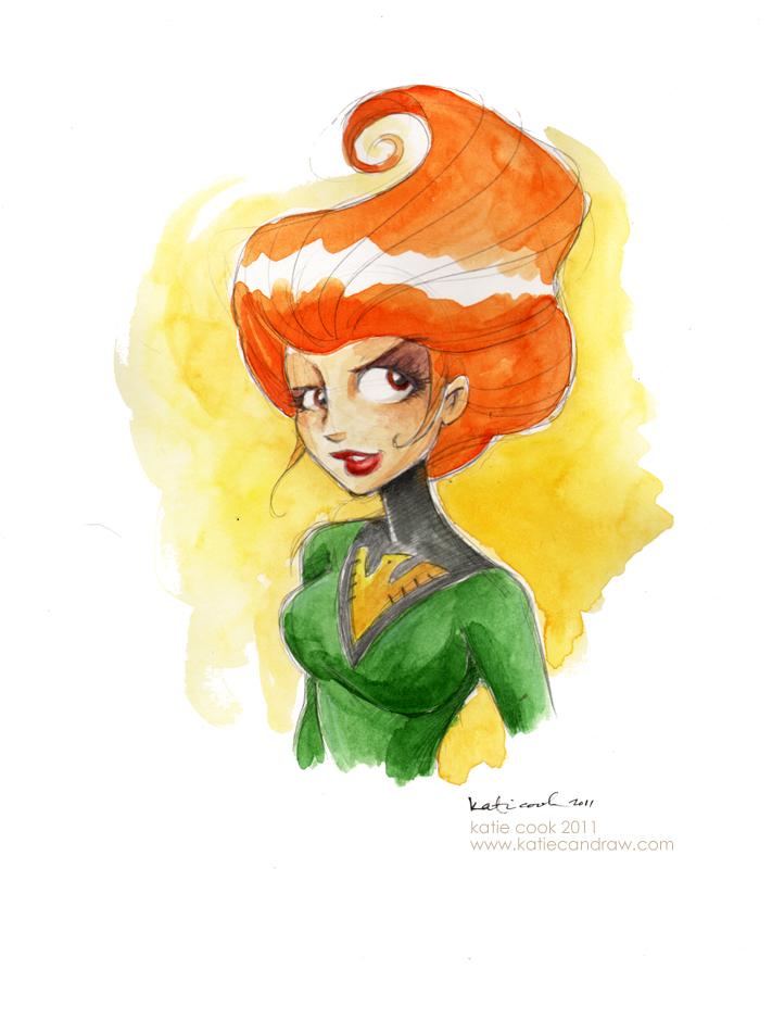 jean grey watercolor by katiecandraw