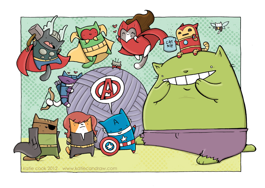cat avengers by katiecandraw