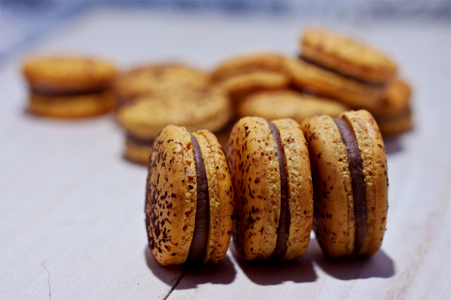 Passionfruit Milk Chocolate Macaron by munchinees