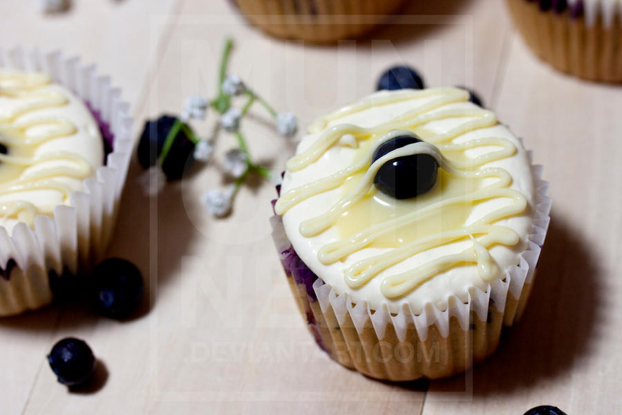 Lemon Cream Blueberry Cupcake 3 by munchinees