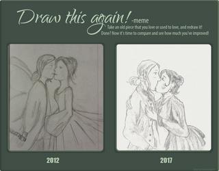 first kiss (draw this again meme) by Shan--Chan