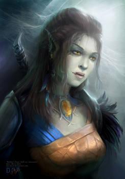 Baldur`s Gate fan-art: ''Half-orc girl''