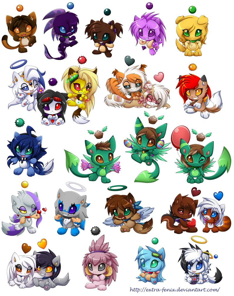 Commission set1-25 chao by Extra-Fenix