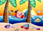 Kirby at the beach by GhostFullmetal