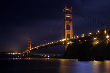 Golden Gate Bridge at Night by DavidDeFino