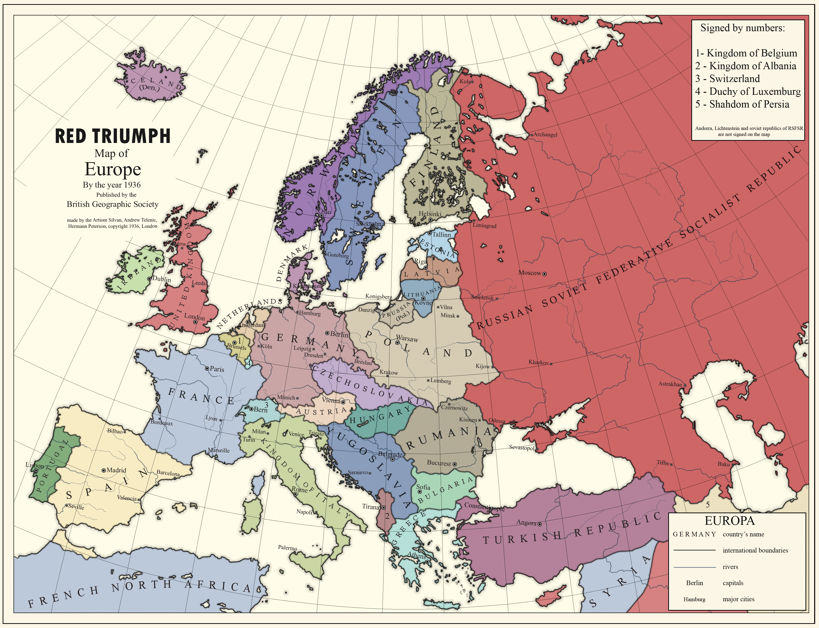 Map Of Europe 1936 RED TRIUMPH] Map of Europe by the 1936 by kreiviskai on DeviantArt
