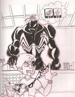 Venom working the counter by elasticdragon