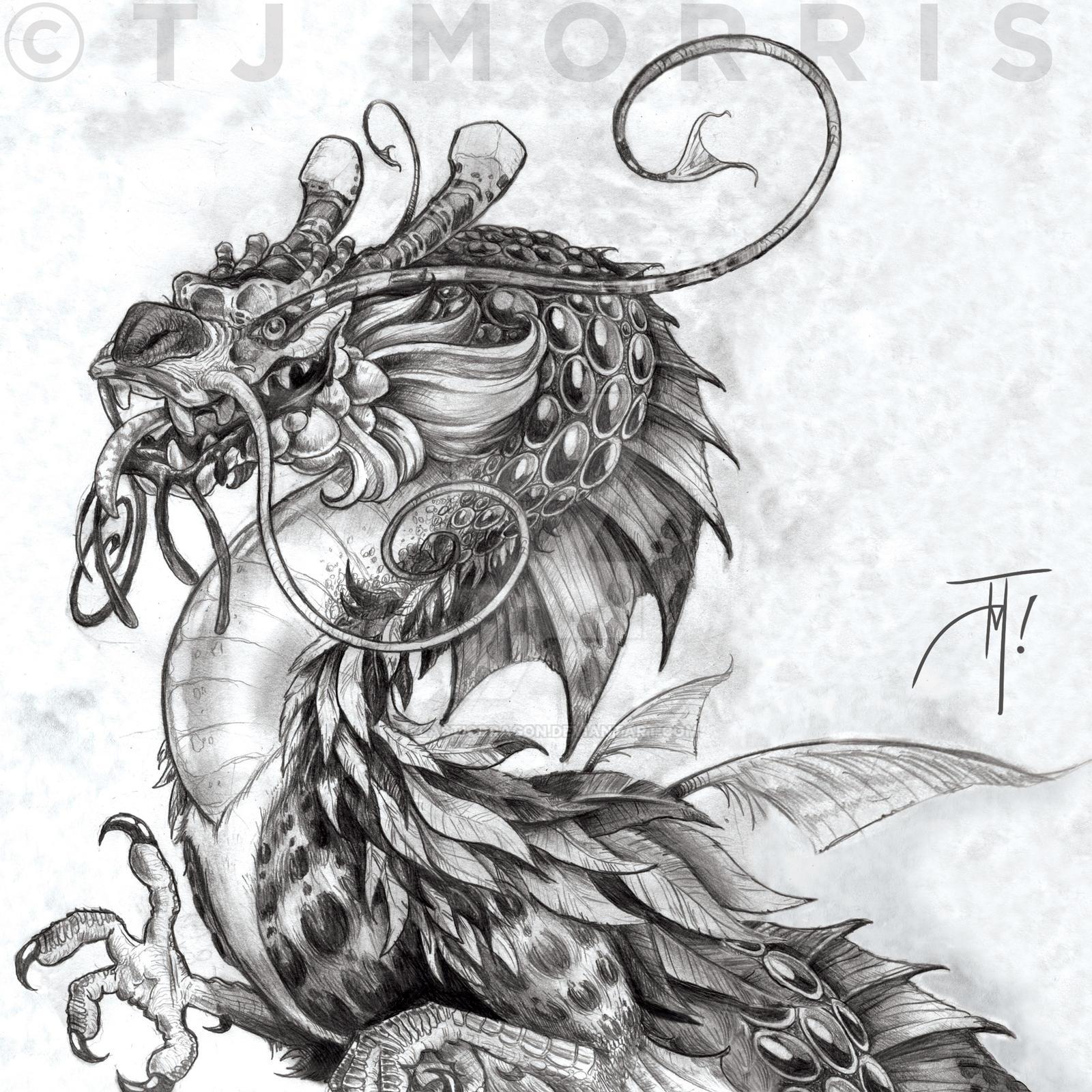 Eastland Marine Dragon pencil WIP by elasticdragon
