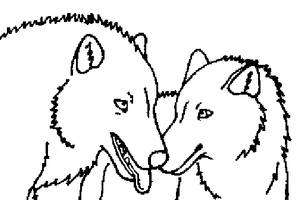 Nuzzling Wolves by toxic-infected