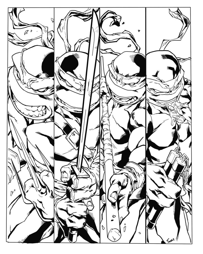 Line Art Ninja Turtles : Ninja turtles tmnt inks by etavitas on deviantart