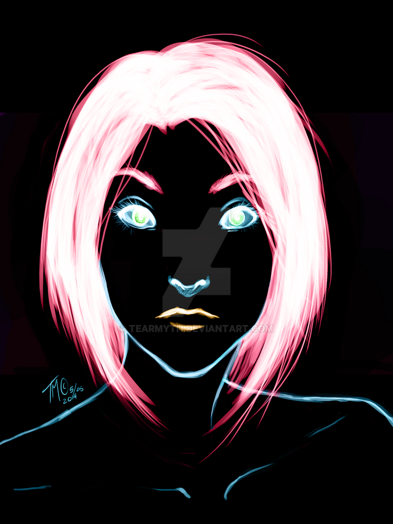 Neon hair girl by TearMyth