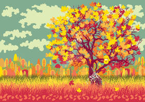 Autumn landscape with orange tree