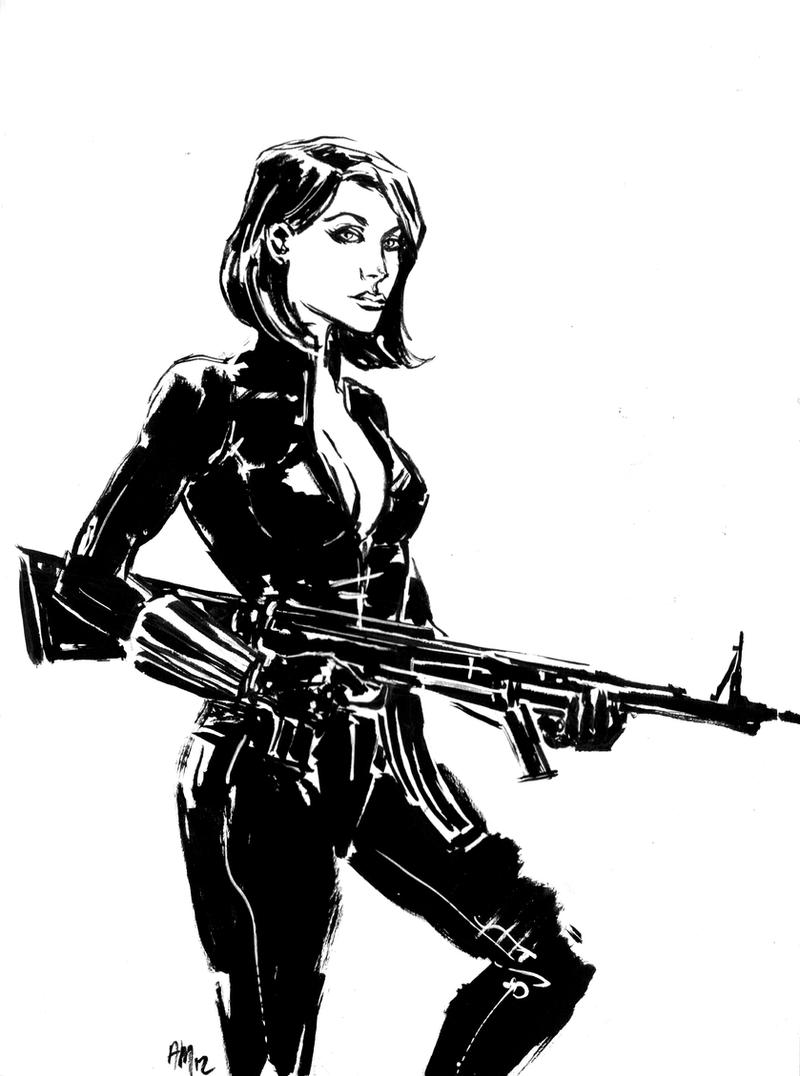 BLACK WIDOW SKETCH by aaronminier