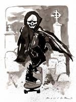 Skater Ghoul : Inktober Day 14, 2016 by aaronminier