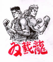 Inktober Day 12: Dragon (Double Dragon)