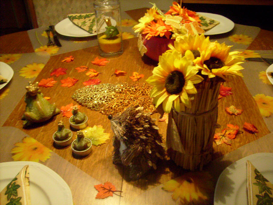 decoration  table in autumn