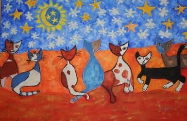 winter night cats by ingeline-art