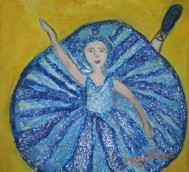 blue ballerina with glitter