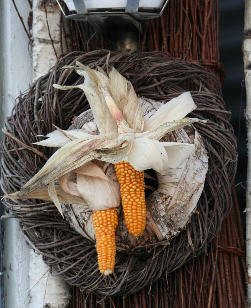 door wreath with corn by ingeline-art