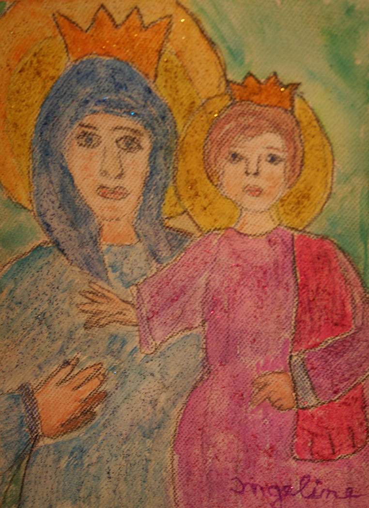 Mother Mary and jesus child by ingeline-art