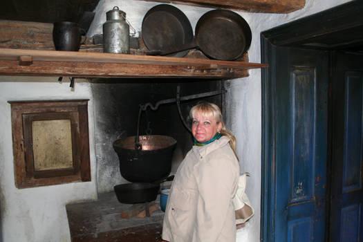 Ingeline in old kitchen
