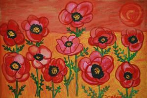 lovely poppies in sunset new by ingeline-art