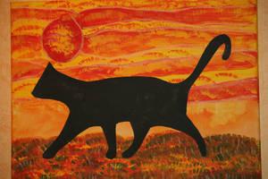 cat in sunset by ingeline-art