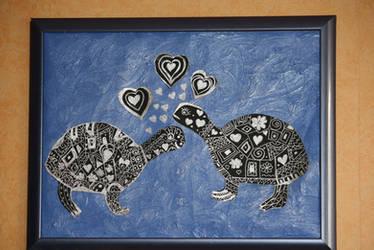 newest work - silver valentine turtles in love by ingeline-art
