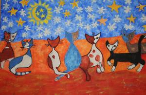 Winternightcats by ingeline-art