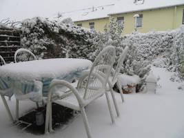 snow today in my garden by ingeline-art