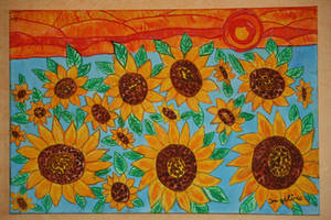 sunset with sunflowers by ingeline-art