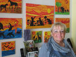 Ingeline and her paintings and collages