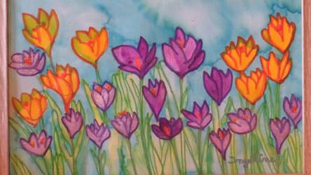 crocuses in spring by ingeline-art