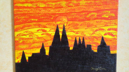 golden sky over cologne dome by ingeline-art
