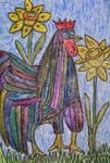 shining rooster in spring by ingeline-art