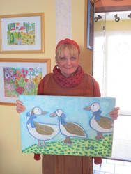 Ingeline and her geese painting