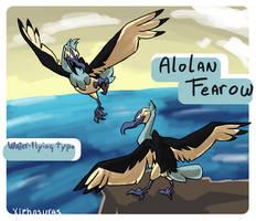 Alolan Fearow (fakemon contest entry) by Xiphosuras