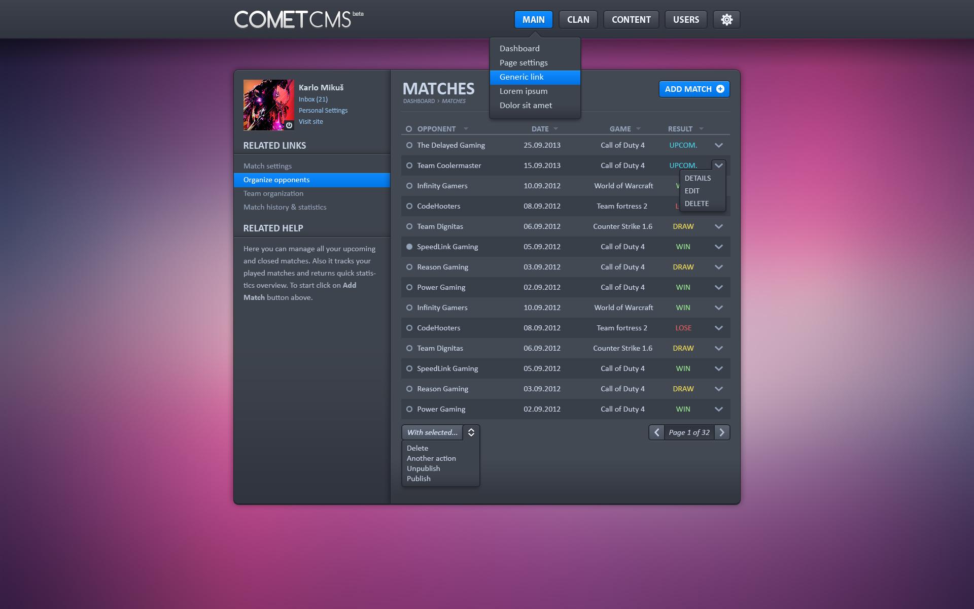Clan Comet CMS Backend by eggzy on DeviantArt