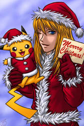Merry Christmas:Samus,Pikachu by maruringo