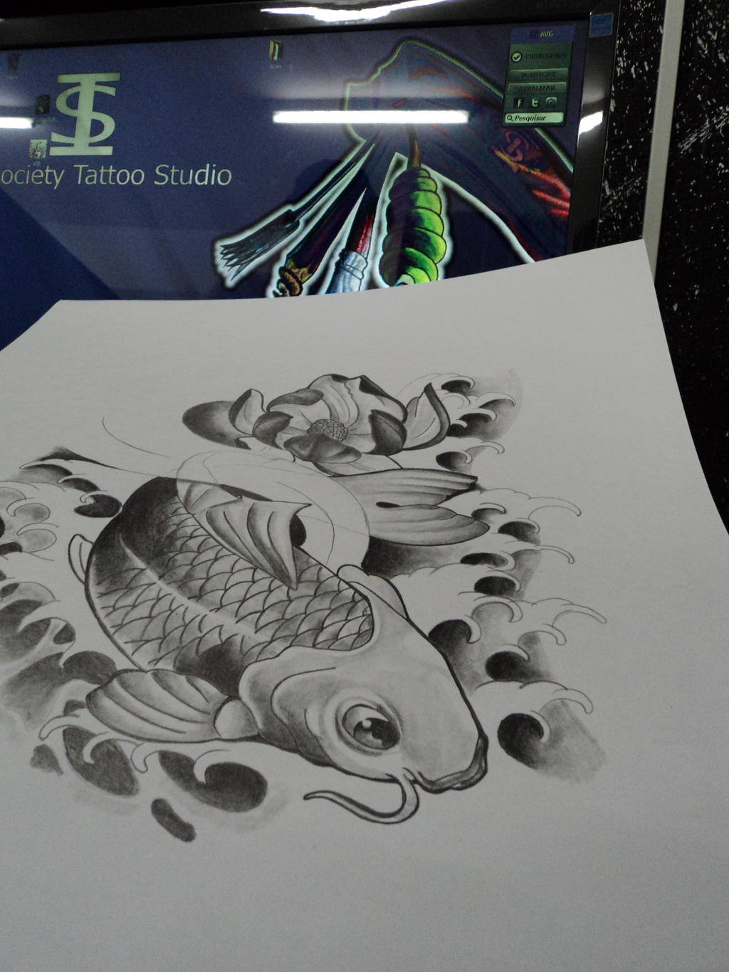 Black and gray koi fish study by willx03 on deviantart for Koi fish black and grey