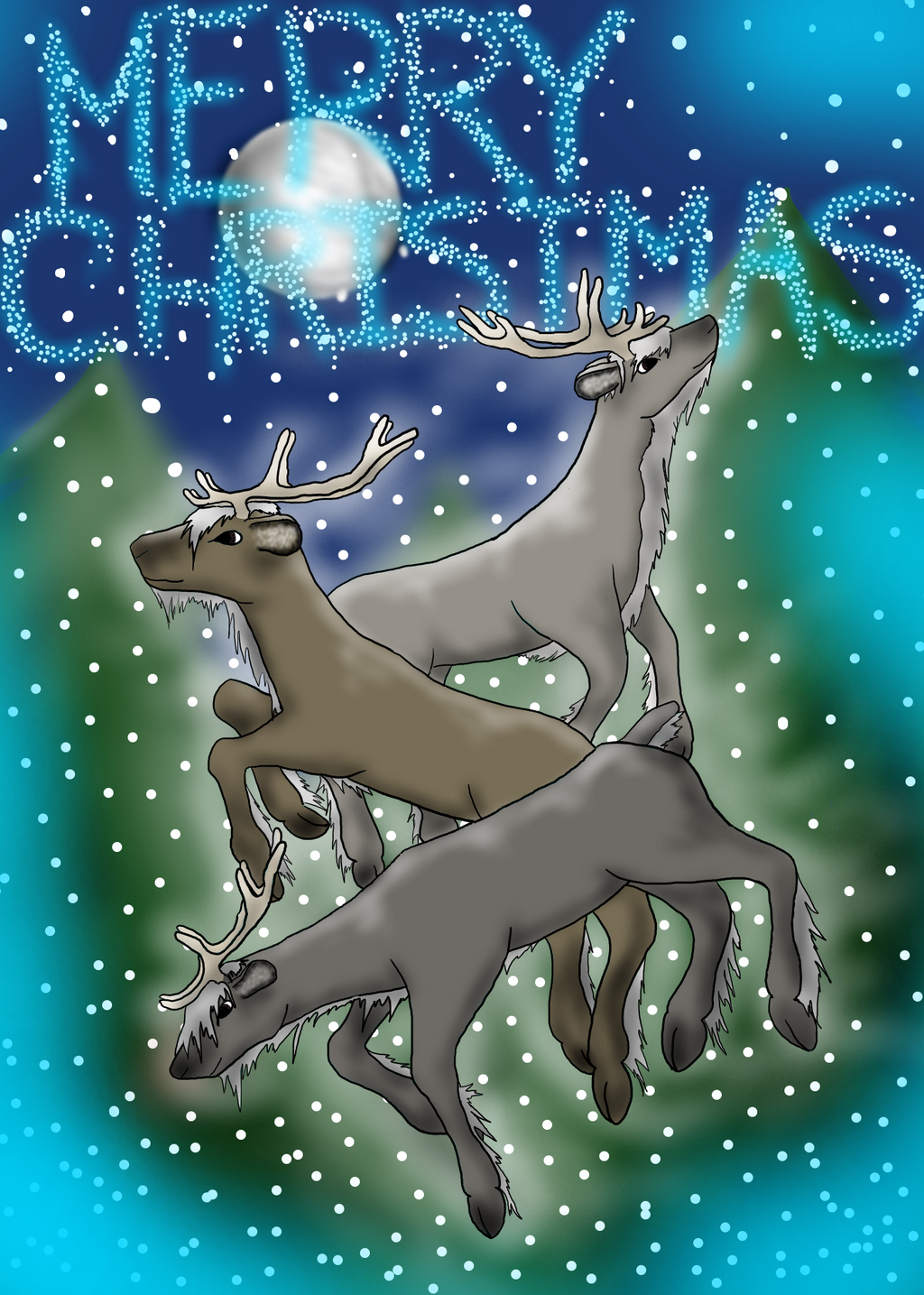 Frolicking Reindeer by MoniaArt101