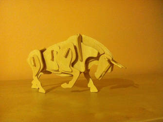 Wooden Bull by TiaTitan