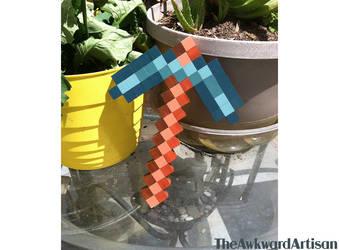 Minecraft Diamond Pickaxe Wood Block Wall Art by RenMakimurs