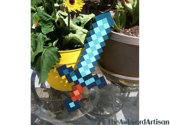Minecraft Diamond Sword Wood Block Wall Art by RenMakimurs
